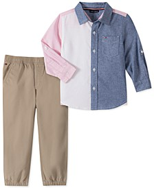Baby Boys 2-Pc. Cotton Colorblocked Oxford Shirt & Solid Pants Set
