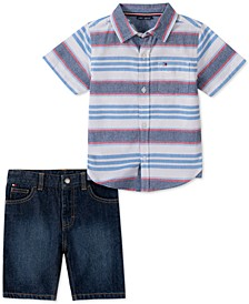 Baby Boys 2-Pc. Cotton Striped Shirt & Denim Shorts Set
