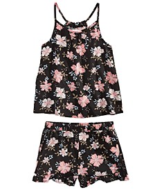 Little Girls 2-Pc. Challis Floral-Print Tank Top & Ruffle-Trim Shorts Set, Created for Macy's