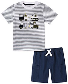 Little Boys 2-Pc. Stripe Truck-Appliqué T-Shirt & Twill Shorts Set