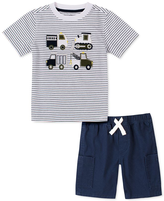 Kids Headquarters Little Boys 2-Pc. Stripe Truck-Appliqué T-Shirt & Twill Shorts Set