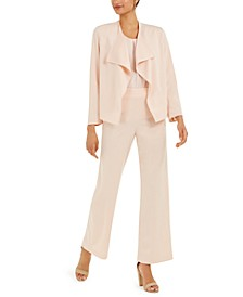 Long-Sleeve Crepe Jacket, Sleeveless Blouse & Flared Dress Pants