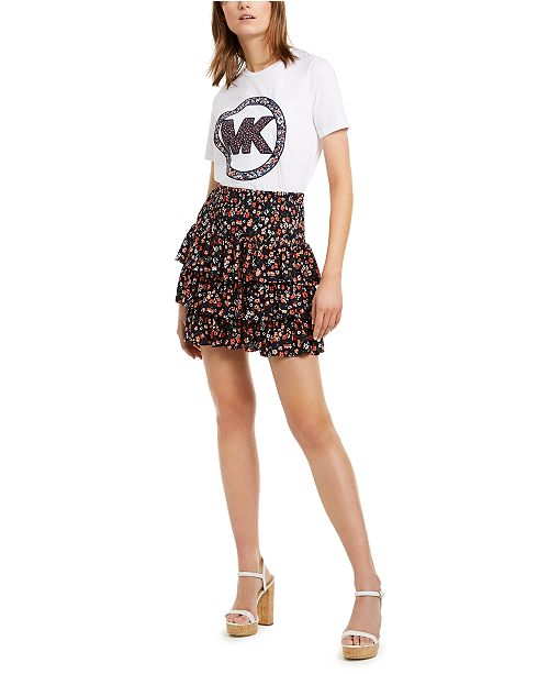 Michael Kors Tiered Floral-Print Skirt
