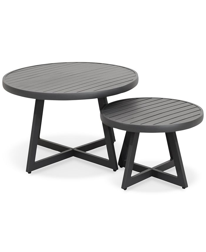 Furniture Braxtyn Outdoor Round Nesting, Nesting Coffee Tables Round