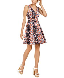 Mixed-Floral Scuba Dress, Regular & Petite