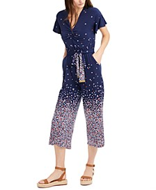 Belted Floral-Ombré Jumpsuit, Regular & Petite Sizes