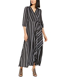 INC Volume-Sleeve Striped Wrap Maxi Dress, Created for Macy's