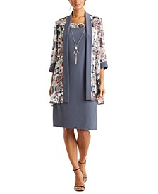 Petite Chiffon Jacket & Dress With Necklace