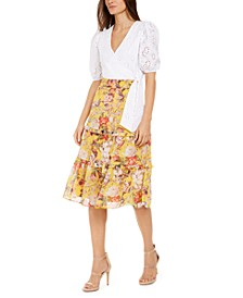 INC Puff-Sleeve Eyelet Wrap Shirt & Tiered Floral Midi Skirt, Created for Macy's