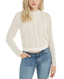 Juniors' Lace-Trimmed Back-Tie Blouse