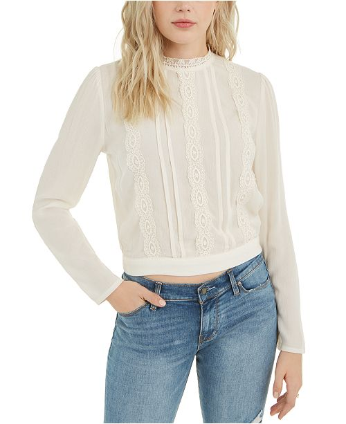 Self Esteem Juniors' Lace-Trimmed Back-Tie Blouse