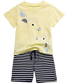 Baby Boys Giraffe T-Shirt & Striped Shorts Separates, Created for Macy's
