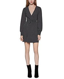 Pinstriped Surplice Dress
