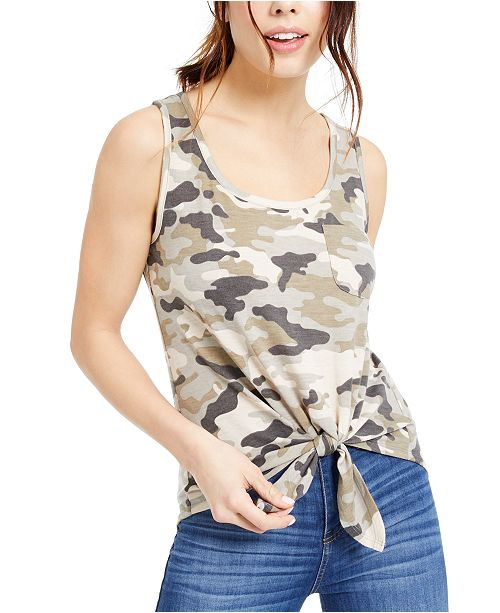 Rebellious One Juniors' Camo-Print Tank Top
