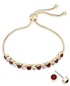 Gold-Tone Crystal Birthstone Slider Bracelet & Stud Earrings Set, Created for Macy's