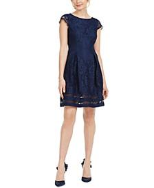 Petite Cap-Sleeve Lace Dress
