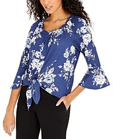 Juniors' Bell-Sleeve Tie-Front Top