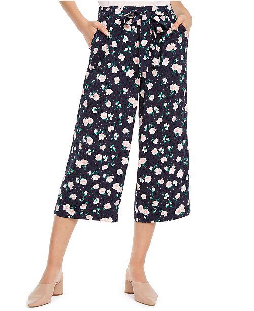 Maison Jules Petal-Print Culotte Pants, Created for Macy's