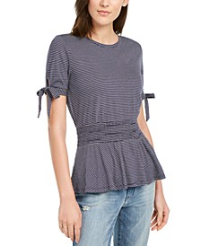 Peplum Tie-Sleeve Top, Created for Macy's