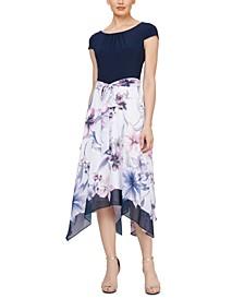 Handkerchief-Hem Midi Dress