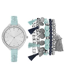 Women's Mint Braided Faux Leather Strap Watch 40mm Gift Set