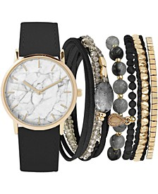 Women's Black Faux Leather Strap Watch 36mm Gift Set