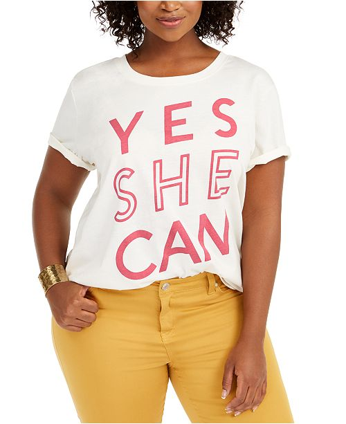 Love Tribe Hybrid Trendy Plus Size Yes She Can T-Shirt