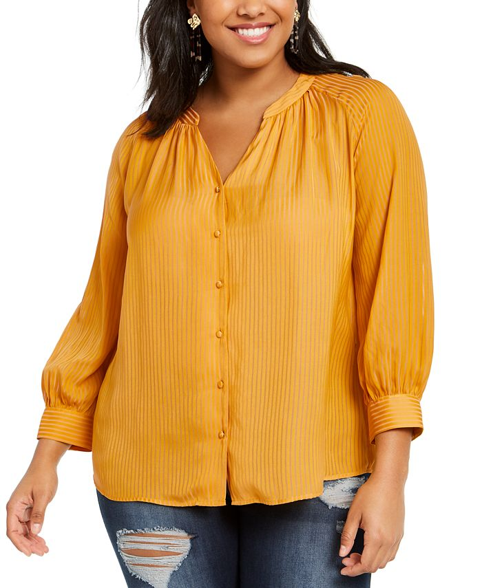 1.STATE - Trendy Plus Size Shadow-Striped V-Neck Top