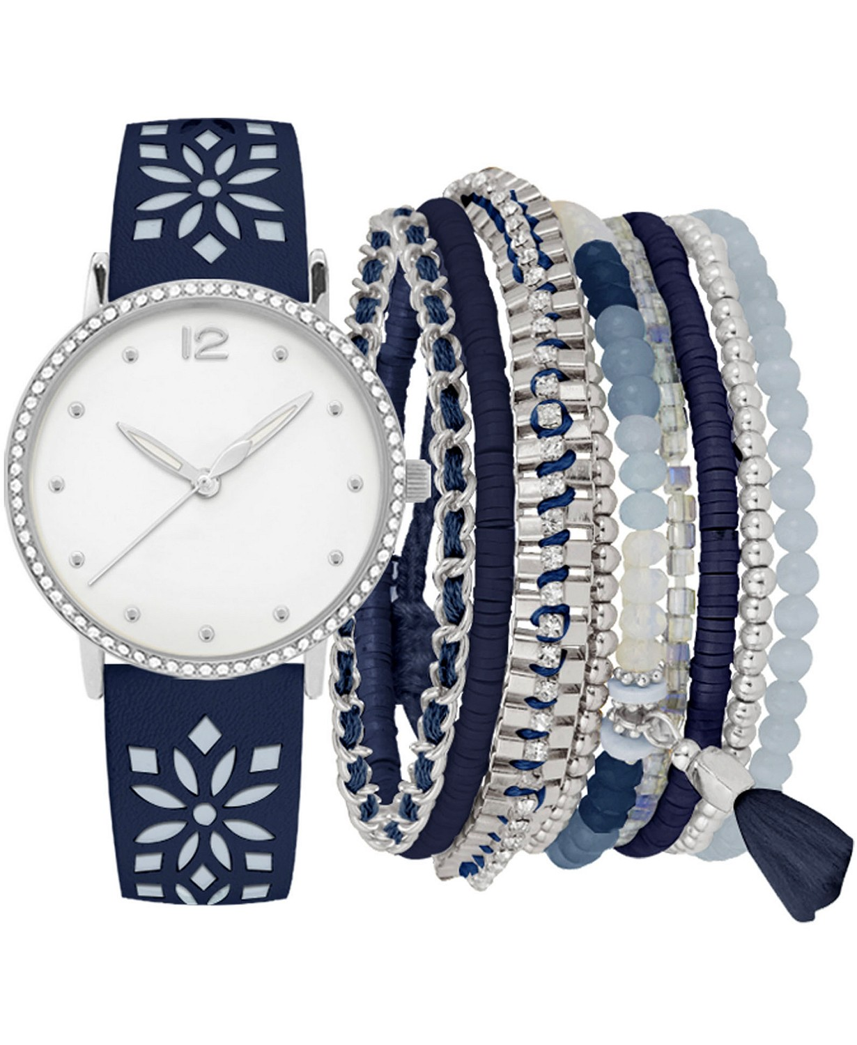 Jessica Carlyle Women's Blue Floral Cut-Out Strap Watch 36mm Gift Set