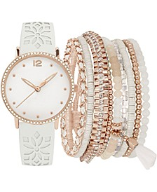 Women's White Floral Cut-Out Faux Leather Strap Watch 36mm Gift Set