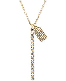 "Gold-Tone Crystal Bar & Box Pendant Necklace, 24"" + 2"" extender"