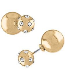 Gold-Tone Pavé Double Ball Front-and-Back Earrings
