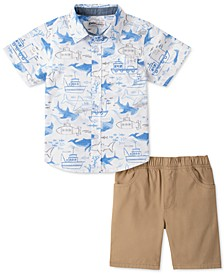 Little Boys 2-Pc. White Whale-Print Poplin Shirt & Khaki Twill Shorts Set