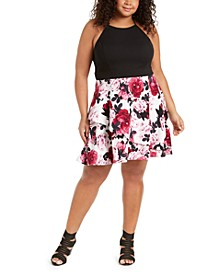 Trendy Plus Size Solid & Floral-Print Dress, Created for Macy's