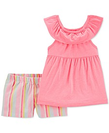 Toddler Girls 2-Pc. Ruffle Top & Striped Shorts Set