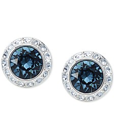 Silver-Tone Crystal Halo Stud Earrings