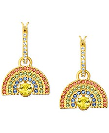 Gold-Tone Multicolor Pavé Rainbow Charm Convertible Huggie Hoop Earrings