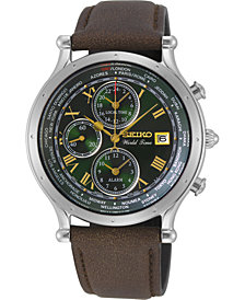 Seiko Men's Essentials Age of Discovery Brown Leather Strap Watch 40mm - A Limited Edition