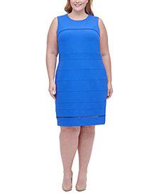 Tommy Hilfiger Plus Size Illusion-Trim Sheath Dress