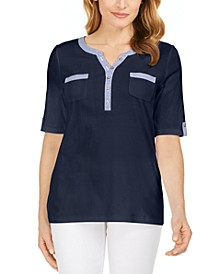 Gingham-Trim Henley Top, Created for Macy's