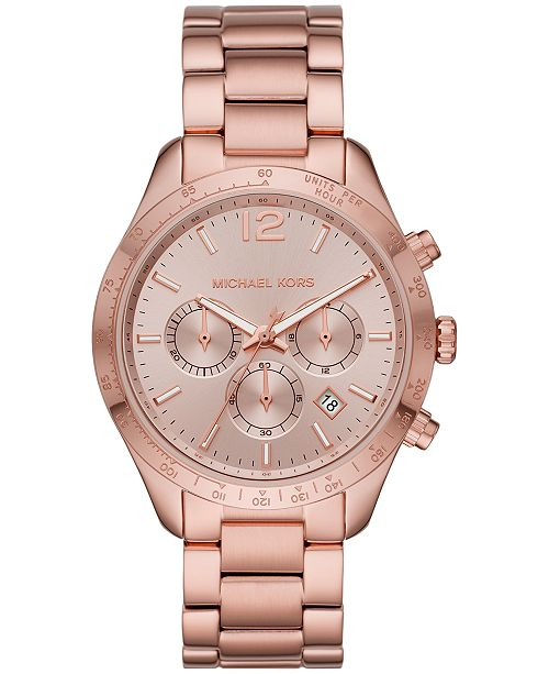 Michael Kors Women's Chronograph Layton Rose Gold-Tone Stainless Steel Bracelet Watch 42mm