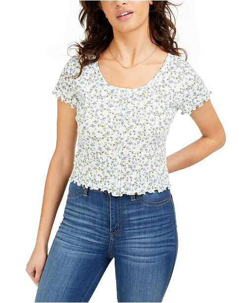 Hippie Rose Juniors' Cropped Floral-Print Pointelle Top