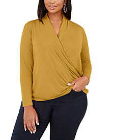 INC Plus Size Surplice-Front Top, Created for Macy's