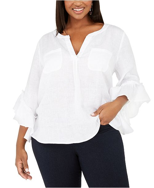 INC International Concepts INC Plus Size Ruffled Linen Top, Created for Macy's