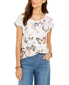 Butterfly-Print Cuffed-Sleeve Top, Created for Macy's