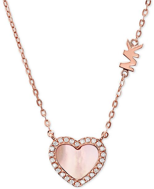 """Michael Kors Sterling Silver Cubic Zirconia & Mother-of-Pearl Heart Pendant Necklace, 16"""" + 2"""" extender"""