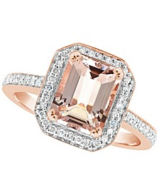 Morganite (2 ct. t.w.) and Diamond (1/4 ct. t.w.) Ring in 14K Rose Gold-Plated Sterling Silver