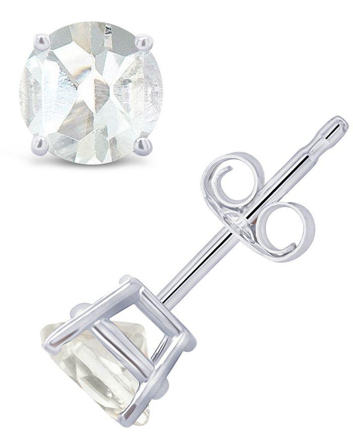 Macy's - White Topaz (1-1/8 ct. t.w.) Stud Earrings in 14K Gold