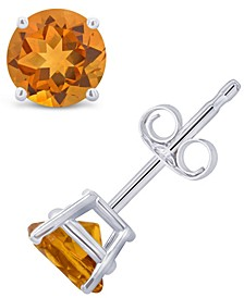 Citrine (9/10 ct. t.w.) Stud Earrings in 14K White or Yellow Gold