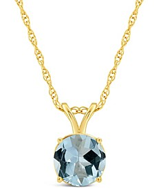 Aquamarine (1-1/4 ct. t.w.) Pendant Necklace in 14K Yellow Gold